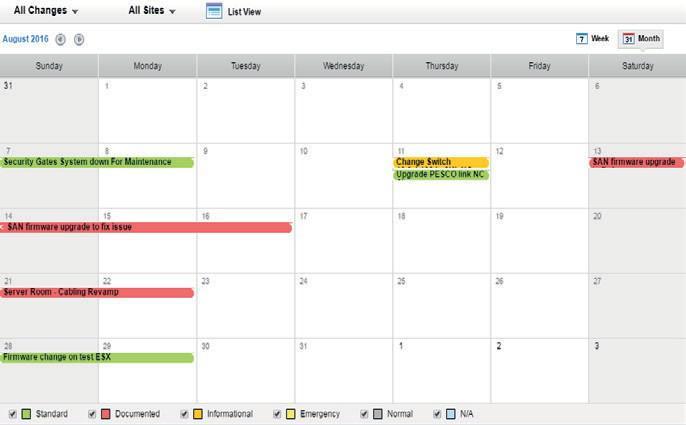 В календаре вы сможете просматривать запланированные изменения, как показано ниже.