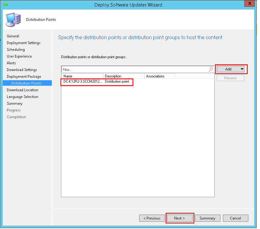 Specify the distribution points through ManageEngine SCCM deployment