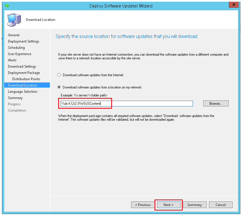 Specify the location from where the updates have to be downloaded with ManageEngine SCCM deployment