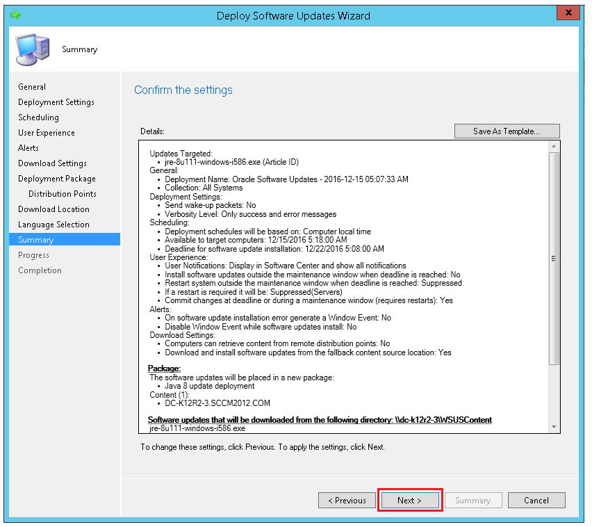 Summary to review the settings and confirm through ManageEngine SCCM deployment