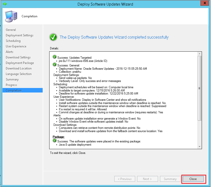 Completion of deployment successfully using ManageEngine SCCM deployment