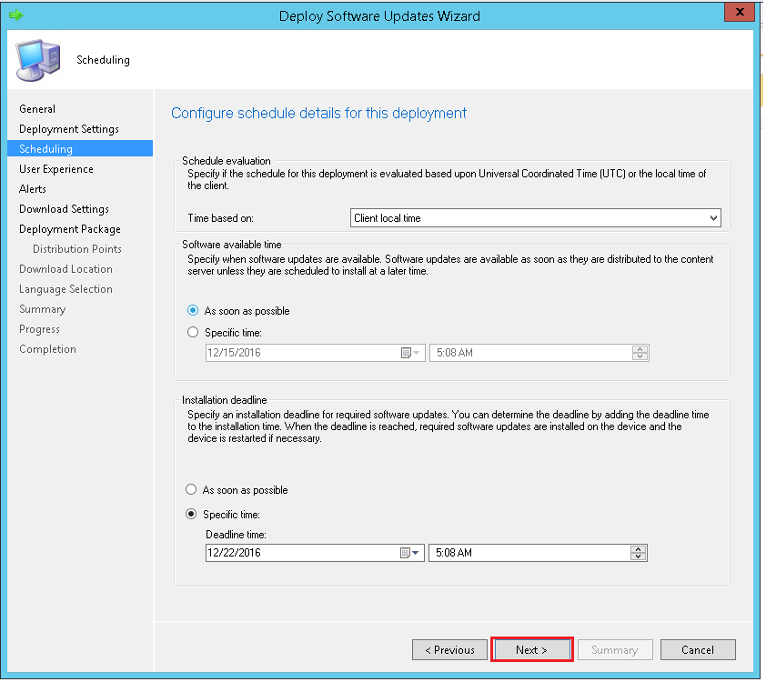 Configure the schedule details for the deployment using ManageEngine SCCM deployment