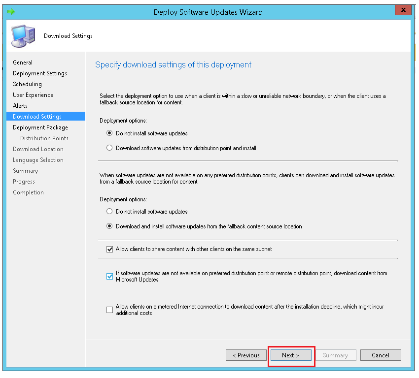 Configure download settings for the deployment using ManageEngine SCCM deployment