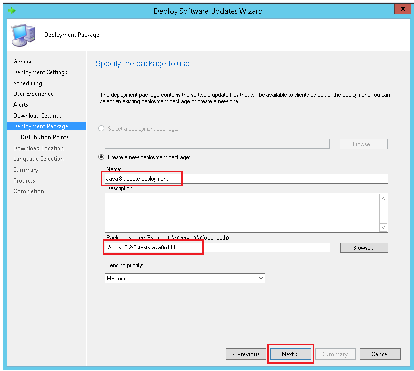 Specify the deployment package details with ManageEngine SCCM deployment