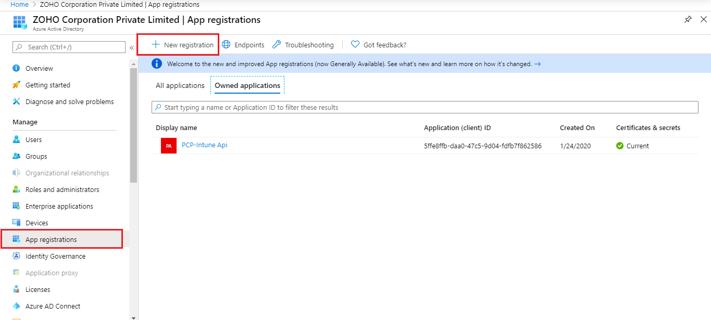 Intune application registration