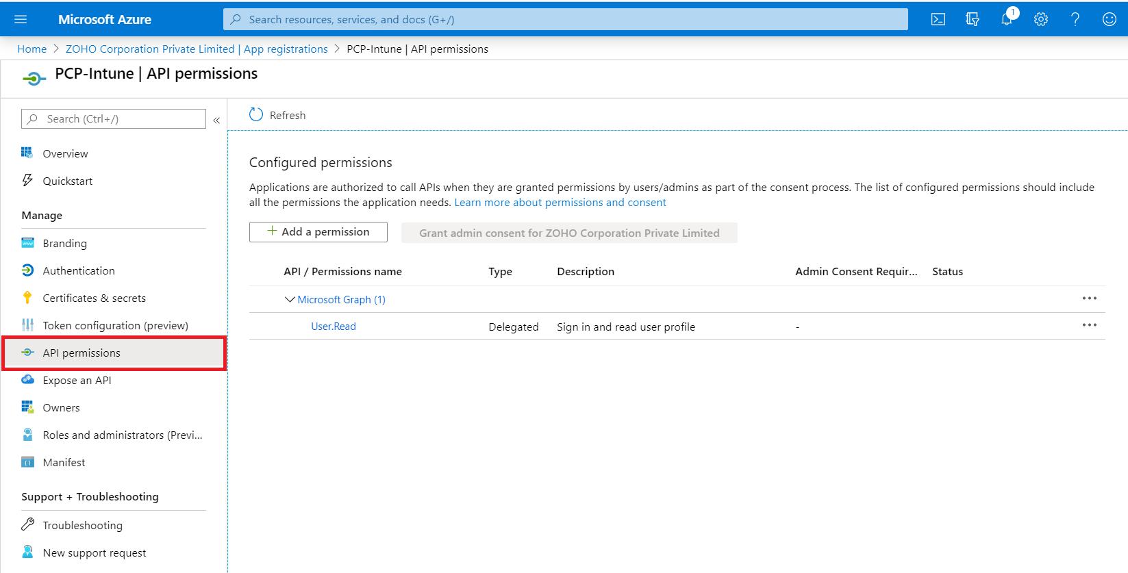 Adding API permissions