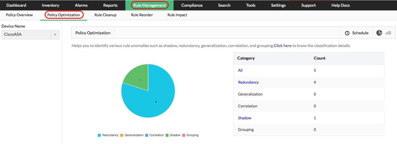 Optimering av brandväggspolicyer - ManageEngine Firewall Analyzer
