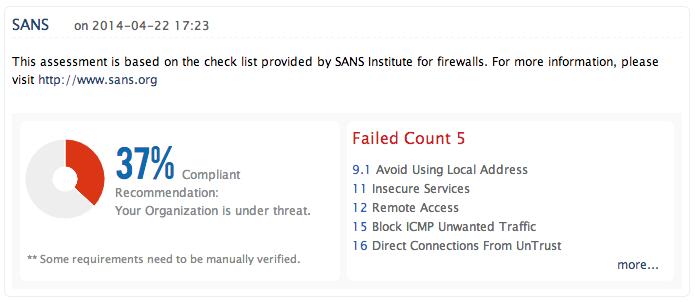 SANS-riktlinjer för säkerhetspolicy för brandväggen - ManageEngine Firewall Analyzer
