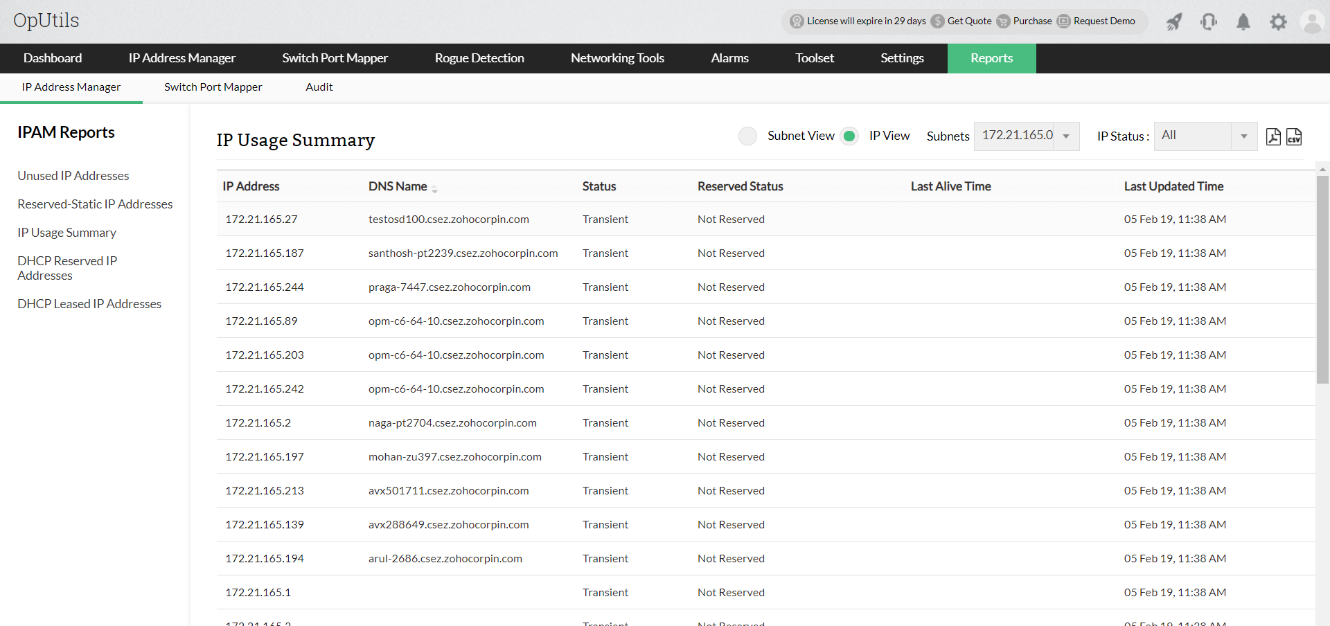 Rapporter om IP-adresshantering - ManageEngine Oputils