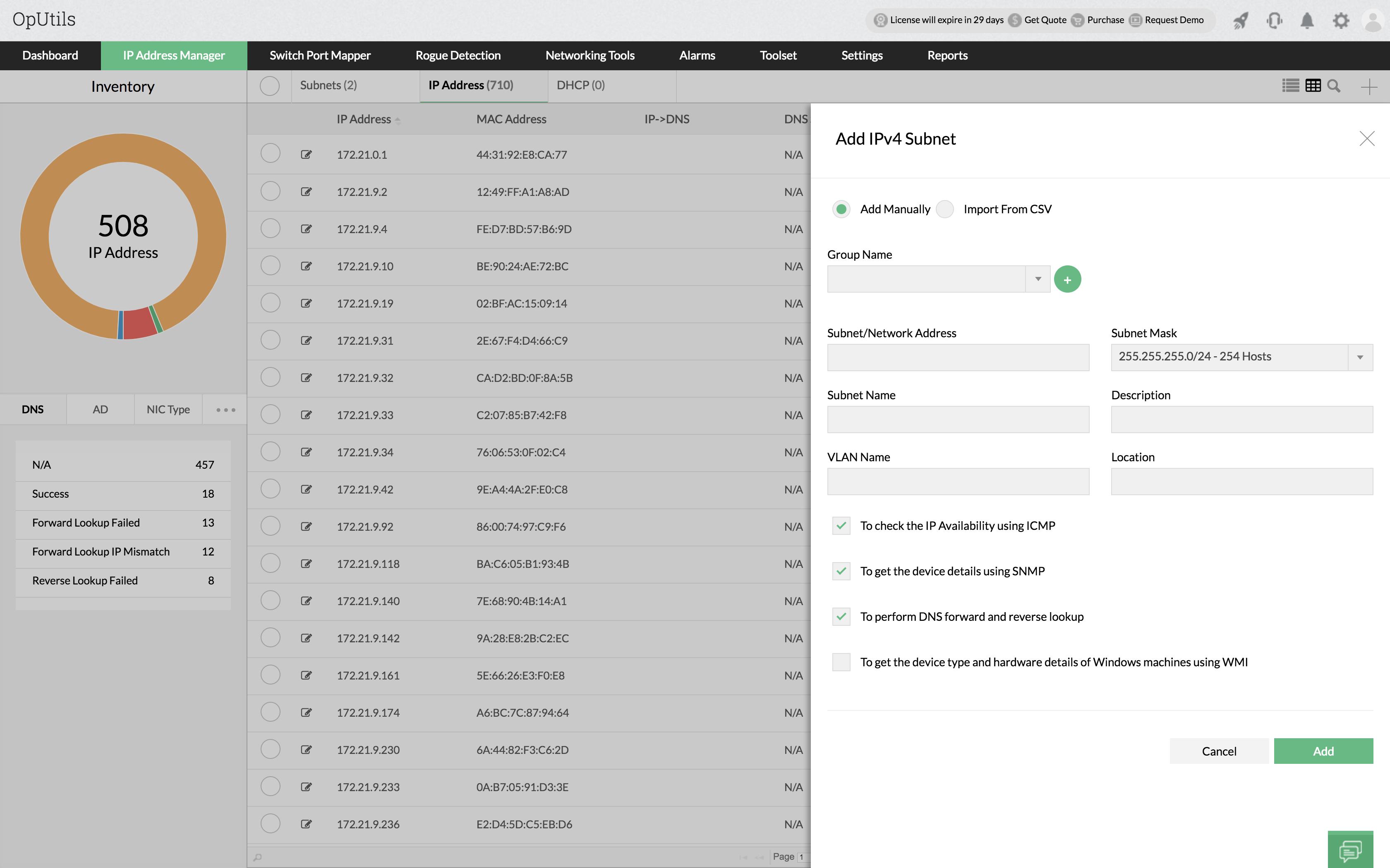 Advanced IP Scanning - ManageEngine OpUtils
