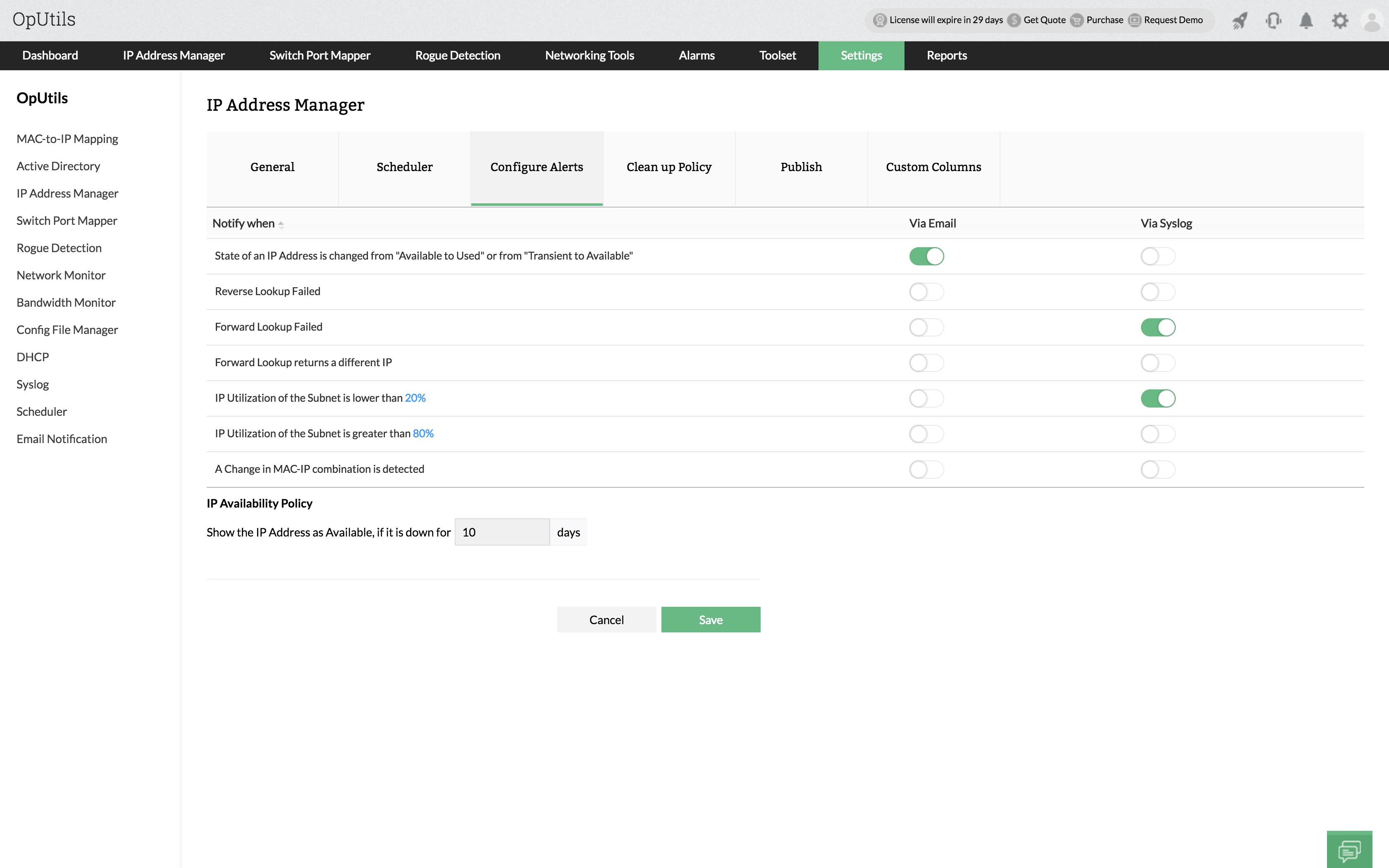 Web Based IP Address Management - ManageEngine Oputils