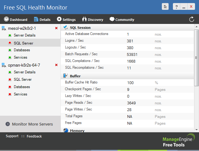 Free SQL Monitor Tool – ManageEngine Free Tools