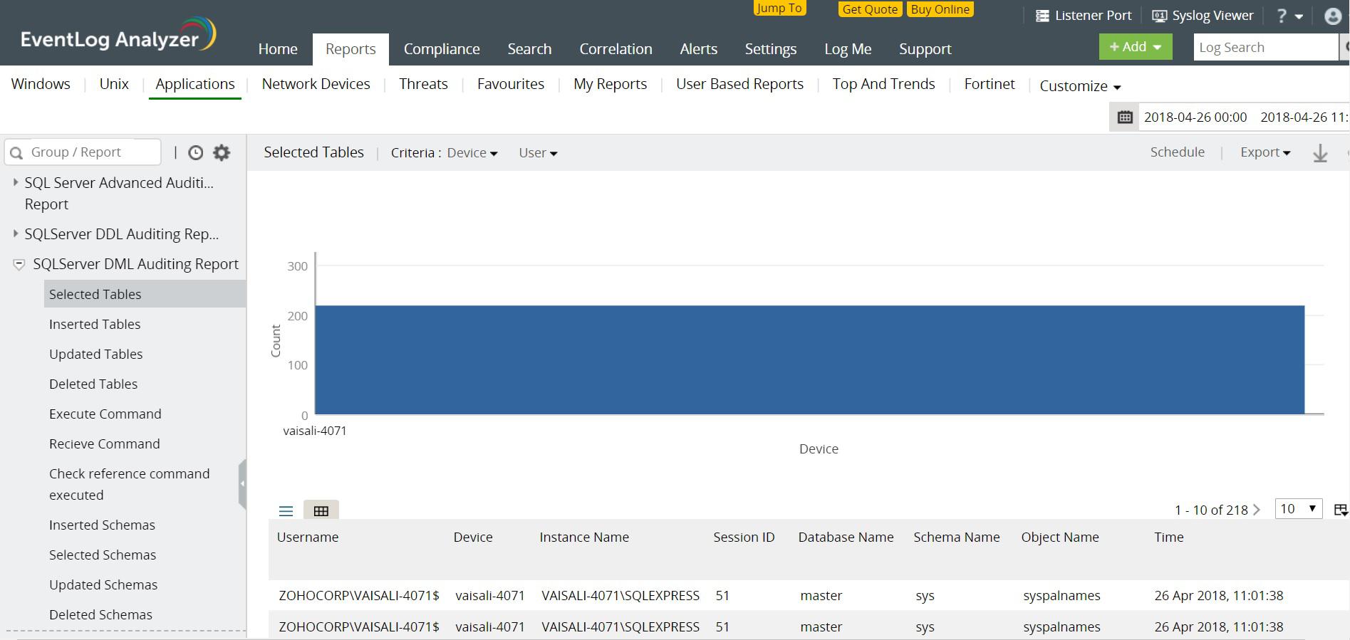 MS SQL Sunucu DML denetleme raporları