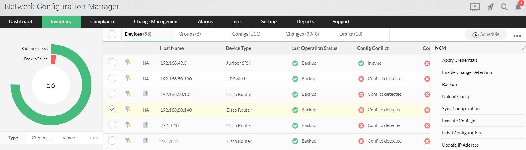 Manuel Ağ Konfigürasyon Yedeklemeleri - ManageEngine Network Configuration Manager