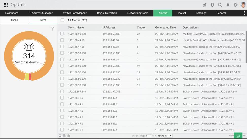 Port tarayıcı parçacıkları (widget) - ManageEngine OpUtils
