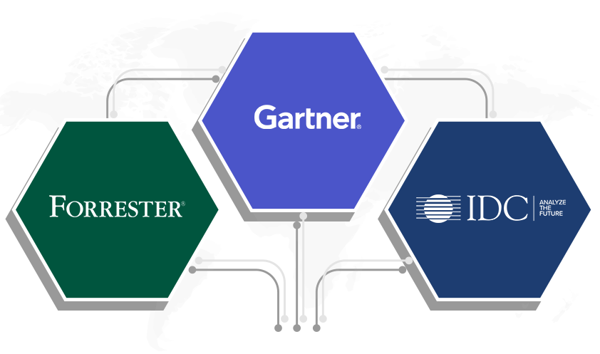 榮譽入選 2019 Gartner Magic Quadrant、Forrester Wave 和 IDC MarketScape。