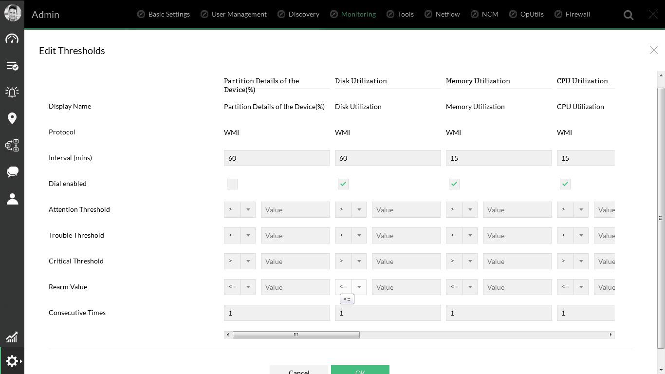 從單個屏幕編輯所有服務器性能監視器的閾值。