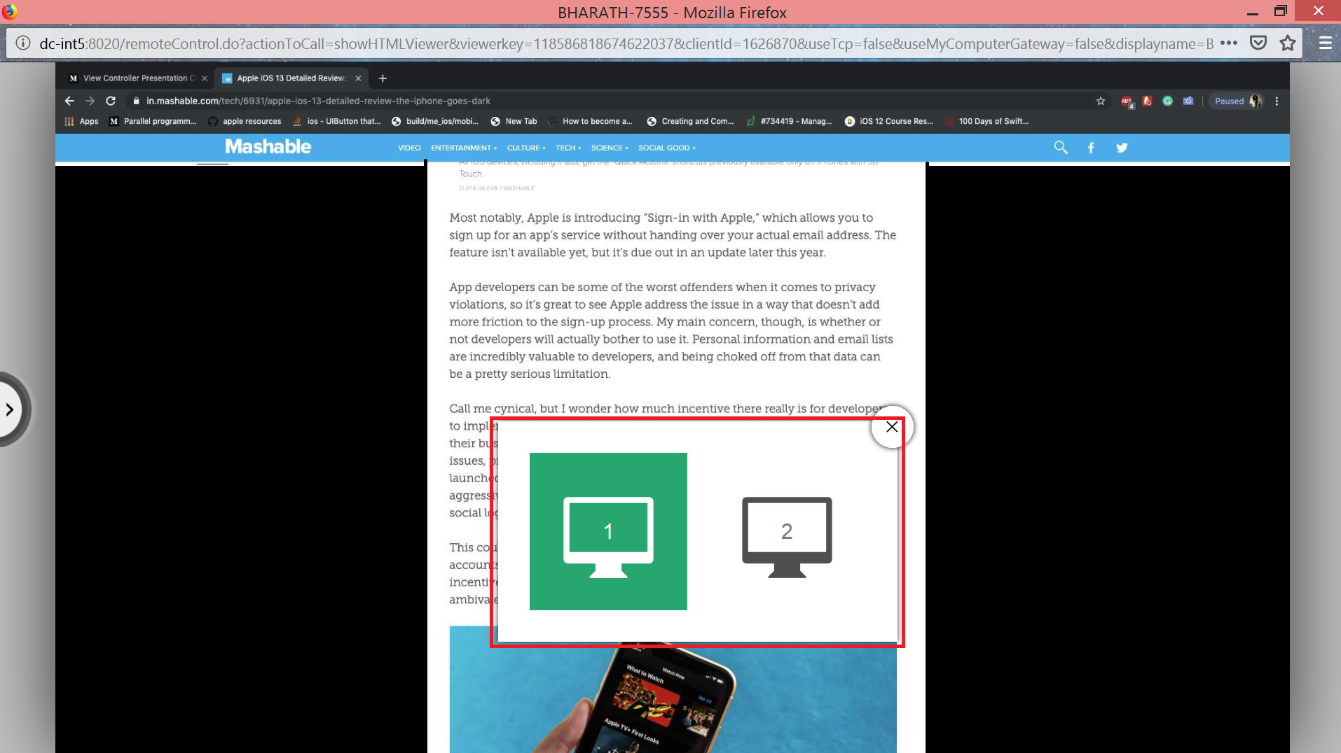 Switch between remote mac screens in multi monitor view seamlessly