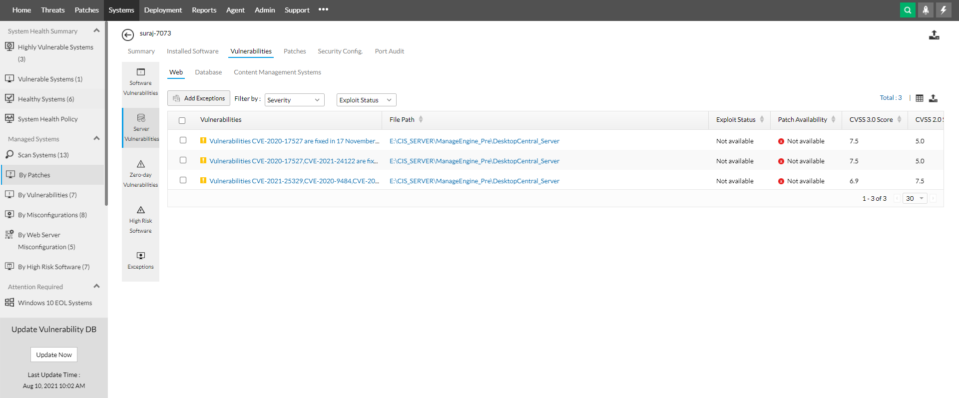 Drilled-down view of assets in ManageEngine's vulnerability assessment tool