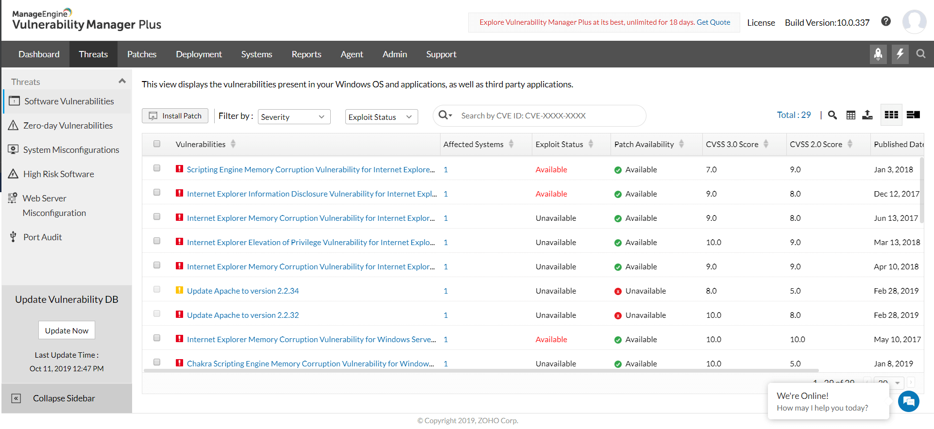 Vulnerability monitoring and assessment view - ManageEngine Vulnerability Manager Plus