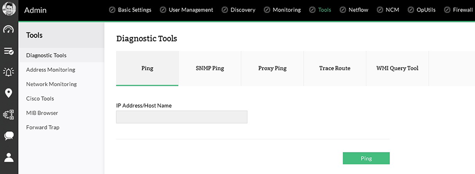 Built-in network troubleshooting tools.