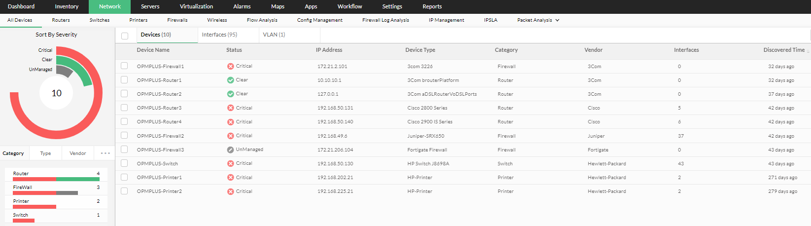 Network Infrastructure Monitoring Tools - ManageEngine OpManager Plus