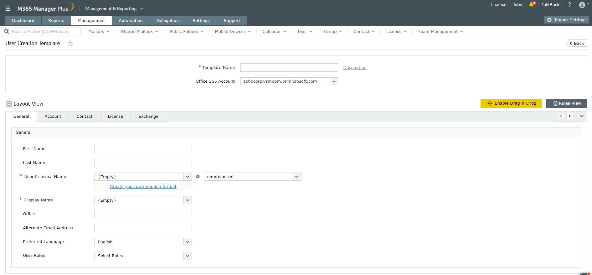Customize microsoft-365 User Creation Template