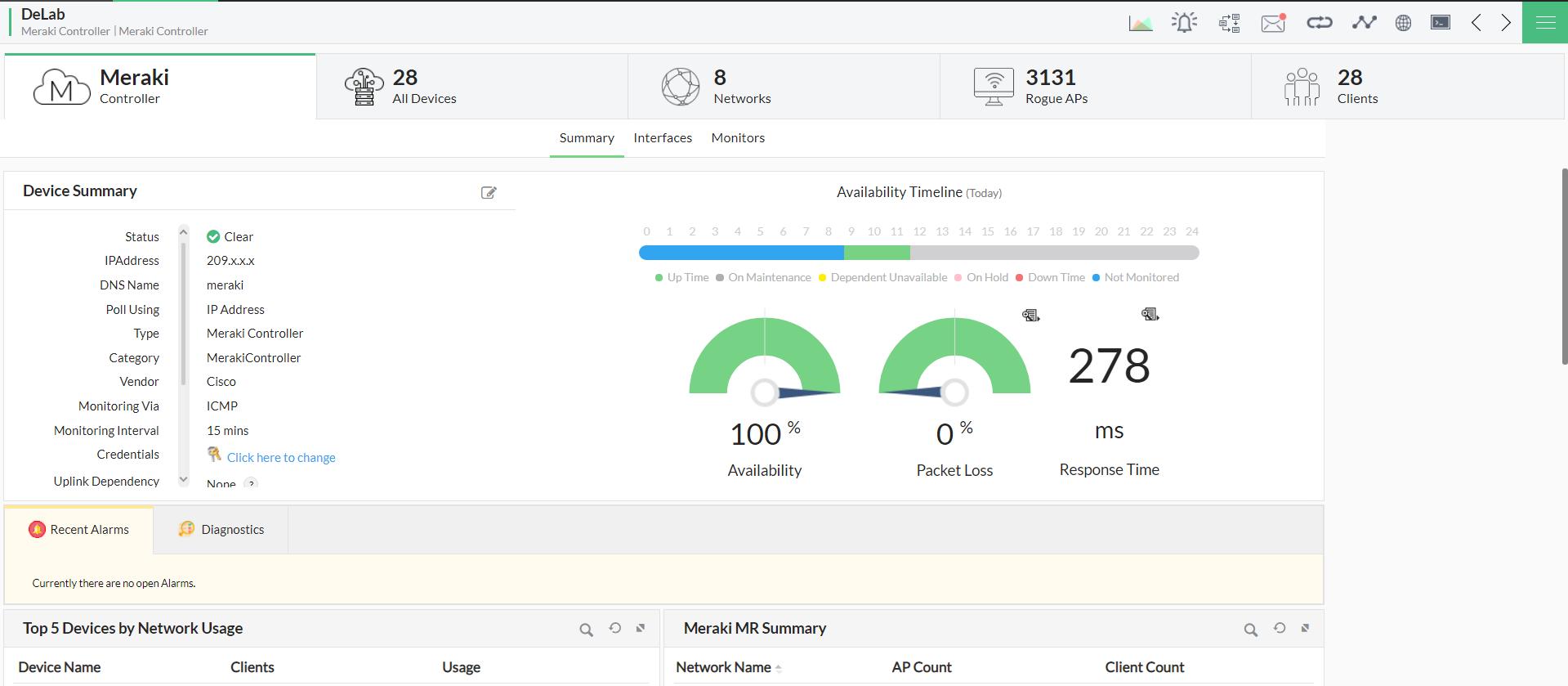 Cisco Meraki performance monitoring - ManageEngine OpManager