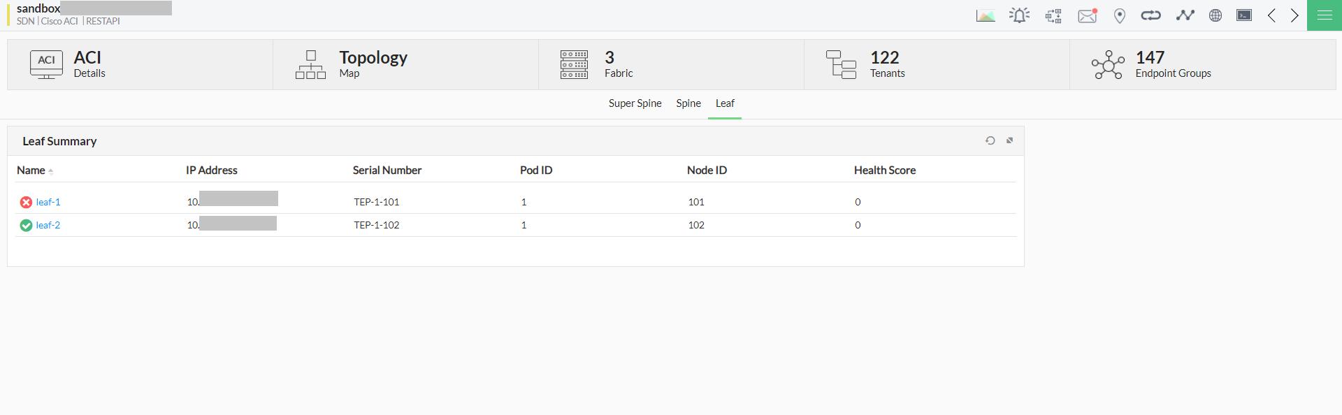 Cisco ACI monitoring - ManageEngine OpManager