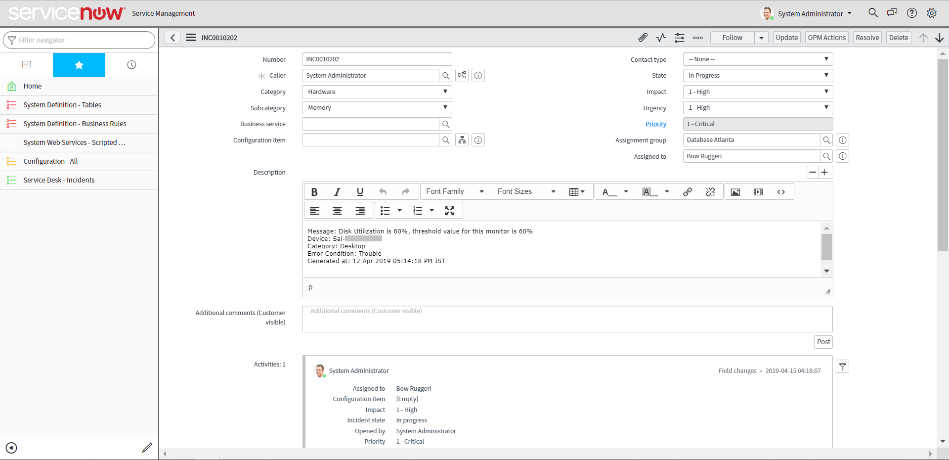ServiceNow alarms | OpManager ServiceNow integration