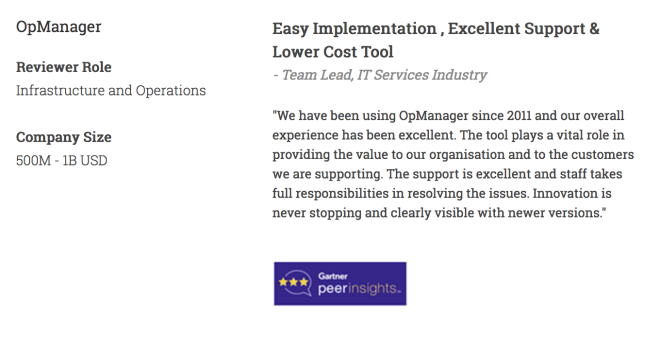 OpManager - Easy Implementation & Excellent Support - Team Lead - Solarwinds Alternative