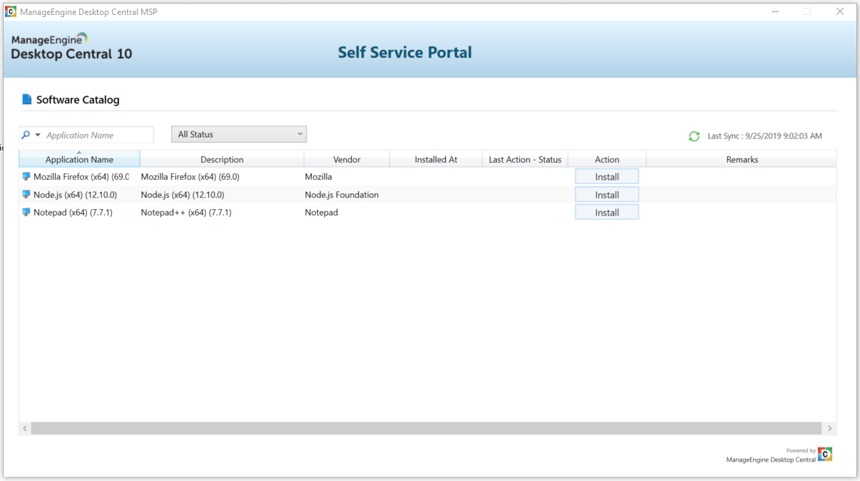 Allow users to install software by themselves using the self-service portal