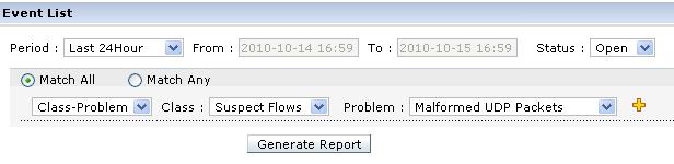 event list filter