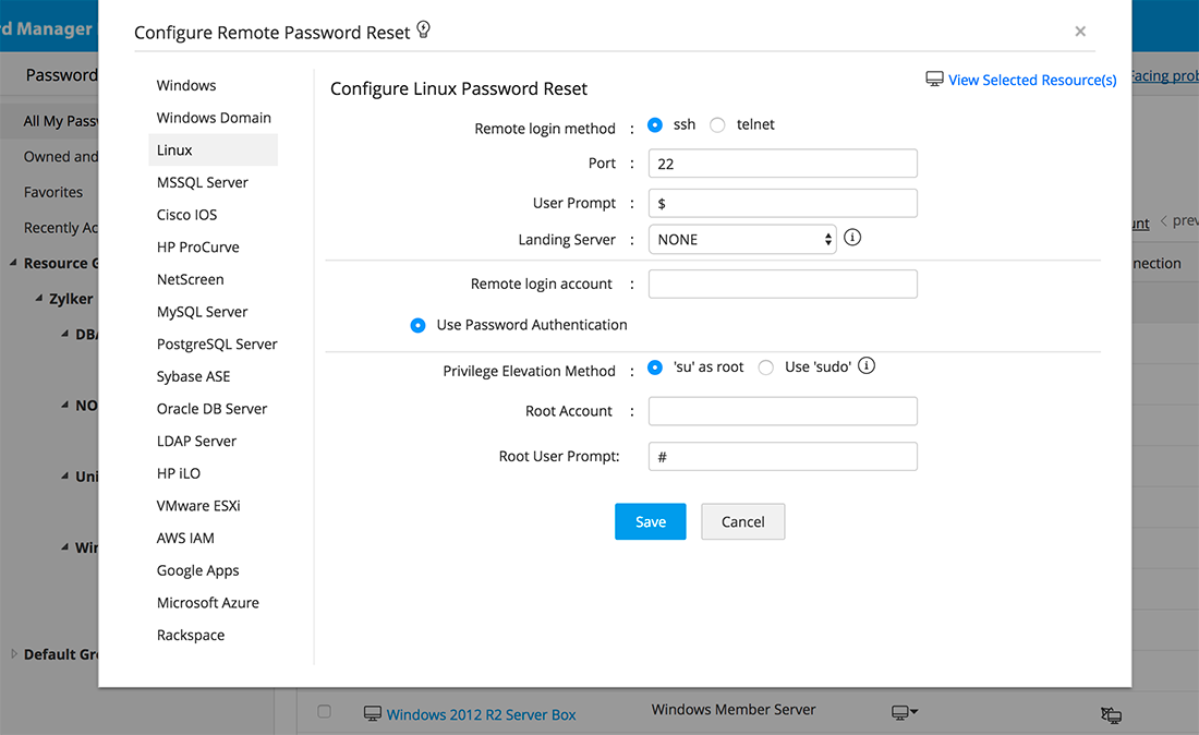 Automated password resets