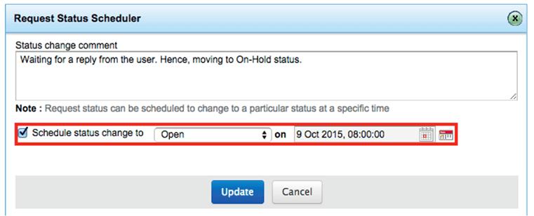 Helpdesk incident status scheduler