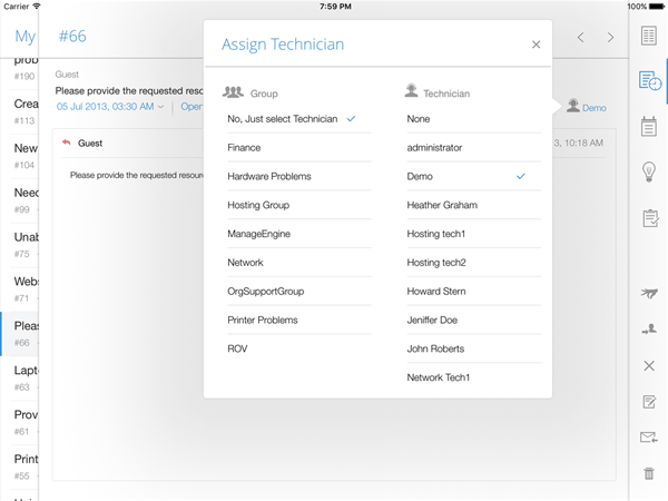 Assign technician through iPad app