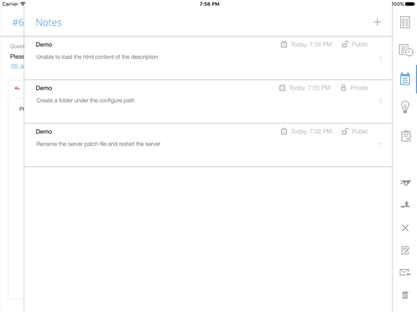 Add help desk notes through ipad app