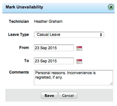 Technician availability chart