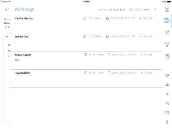Worklog management on iPad