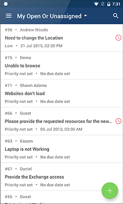 Open or unassigned requests view from android mobile app