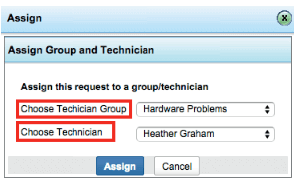 Re-assign groups & technicians