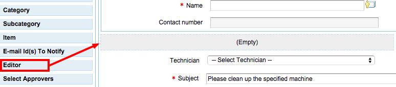 Service request editor